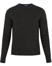 Bottega Veneta - Contrasting-collar Wool And Cashmere-blend Jumper - Lyst