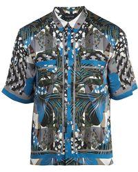 Meng - Geometric Print Short Sleeved Silk Pyjama Shirt - Lyst