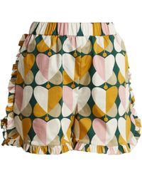 La Doublej Editions | The Ruffle Stretch-cotton Shorts | Lyst