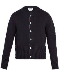 Thom Browne - Striped-detail Cotton Cardigan - Lyst