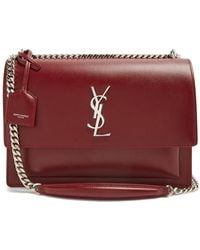 Saint Laurent - - Sunset Large Leather Shoulder Bag - Womens - Burgundy - Lyst