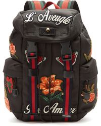 Gucci - Floral Appliqué Techno Canvas Backpack - Lyst