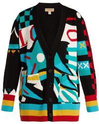 Burberry - Intarsia Knit Merino Wool Blend Cardigan - Lyst
