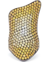 Lynn Ban - Rhodium Plated Silver Diamond Pavé Ring - Lyst