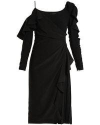 Versace - Asymmetric Open-shoulder Ruffle-detail Dress - Lyst