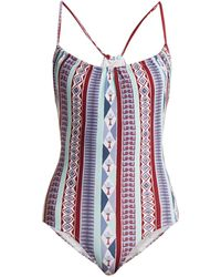 Le Sirenuse - Sofia Arlechino Print Scoop Neck Swimsuit - Lyst