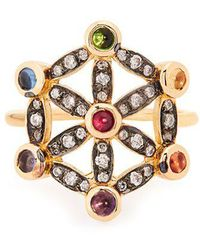 Noor Fares - - Diamond, Multi Stone & Yellow Gold Pinky Ring - Womens - Yellow Gold - Lyst