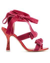 Attico - Marla Wraparound Velvet Sandals - Lyst