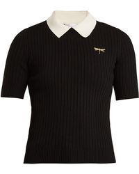 RED Valentino   Dragonfly-embroidered Ribbed-knit Polo Shirt   Lyst