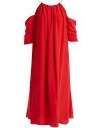Anna October - Open Shoulder Silk Blend Midi Dress - Lyst