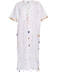 Thierry Colson - Pompom Garden-embroidered Cotton Kaftan - Lyst