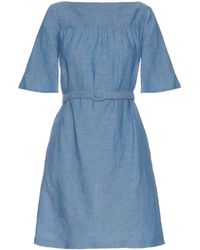 A.P.C. - Positano Chambray Belted Dress - Lyst