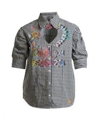 Vivienne Westwood Anglomania - Heart Cut-out Puff-sleeved Gingham Cotton Shirt - Lyst