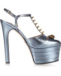 Gucci - Angel Leather Platform Court Shoes - Lyst