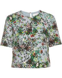 Erdem - Juana Field Flower-print Short-sleeved Top - Lyst