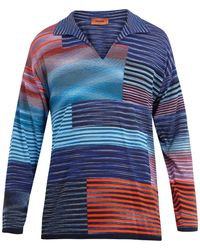 Missoni - Open-neck Long-sleeved Polo Cotton Shirt - Lyst