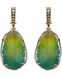 Silvia Furmanovich - Diamond, Resin-coated Petal & Yellow-gold Earrings - Lyst