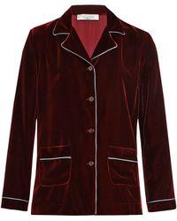 Valentino - Silk-trimmed Velvet Pyjama Blouse - Lyst