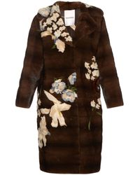 Valentino - Japanese Floral-intarsia Mink-fur Coat - Lyst