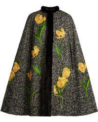 Dolce & Gabbana - Tulip-appliqué Mink-trimmed Tweed Cape - Lyst
