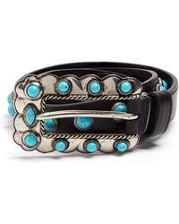 Prada - Turquoise Stone-embellished Skinny Leather Belt - Lyst