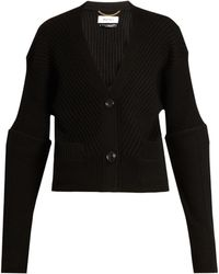 MUVEIL - Ribbed-knit Wool Cardigan - Lyst