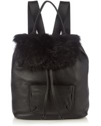 Elizabeth and James - Langley Shearling And Leather Backpack - Lyst