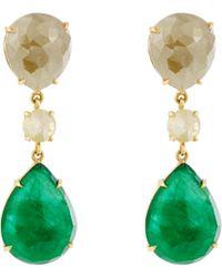 NSR Nina Runsdorf - Diamond, Emerald & Yellow-gold Earrings - Lyst