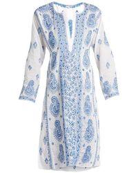 Juliet Dunn - Paisley-embroidered Cotton-voile Kaftan - Lyst