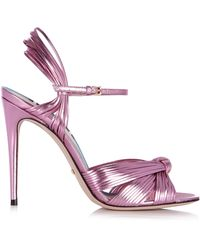 Gucci - Allie Knotted Metallic Leather Sandals - Lyst