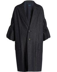 Yohji Yamamoto Regulation - Ruffled-sleeve Denim Coat - Lyst