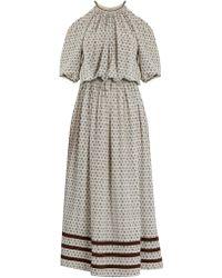 Talitha - Leela Block-print Silk-crepe Dress - Lyst