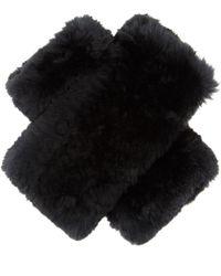 Diane von Furstenberg - Rabbit Fur Fingerless Gloves - Lyst