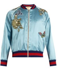 Gucci - Embroidered Patch Silk Duchesse Bomber - Lyst