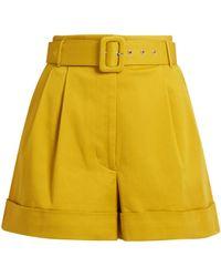 Isa Arfen - Safari High-waist Cotton-twill Shorts - Lyst