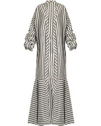 Johanna Ortiz - Ruched-sleeve Striped Stretch-cotton Coat - Lyst