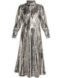 Ganni - Sequined Crepe Midi Dress - Lyst