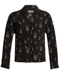 Rockins - Skully Of The Valley-print Silk Pyjama Top - Lyst