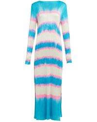 The Elder Statesman Raya Striped Knitted Silk Dress