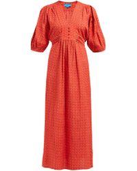 M.i.h Jeans - Avery Tulip Printed Cotton Blend Midi Dress - Lyst