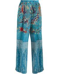 By Walid - Wide-leg Silk Crepe De Chine Trousers - Lyst