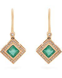 Jade Jagger - Diamond, Emerald & Yellow-gold Earrings - Lyst