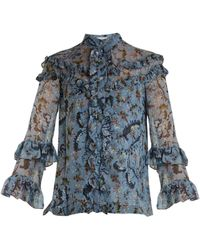 Erdem - Margery Paisley Vine-print Ruffled Silk Blouse - Lyst