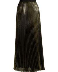 Galvan London | Pleated Lamé Midi Skirt | Lyst