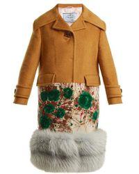 Prada - Fur Hem Contrast Panel Cashmere Coat - Lyst