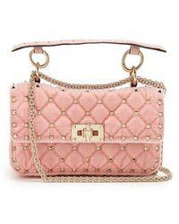 Valentino - Rockstud Spike Small Quilted-velvet Shoulder Bag - Lyst