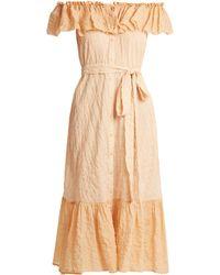 Lisa Marie Fernandez - Mira Off-the-shoulder Striped Cotton Dress - Lyst
