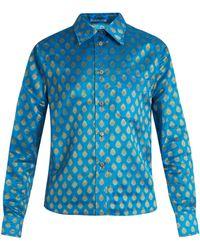 Miu Miu | Point-collar Leaf-jacquard Shirt | Lyst
