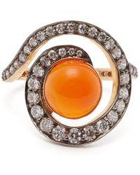 Noor Fares - Planet Carnelian & Diamond Spiral Ring - Lyst
