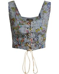 Vivienne Westwood Anglomania - Floral-print Gingham Cropped Top - Lyst